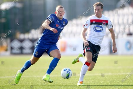 Stock Image of Dundalk vs Waterford. Waterford's Michael O'Connor and Daniel Cleary of Dundalk