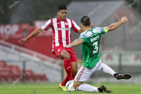 Stock Image of Cork City vs Sligo Rovers. Sligo Rovers' Ryan De Vries and Alan Bennett of Cork City