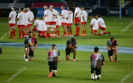 Quins take a knee and  some of Sale kneel too but all wear t-shirts in support of black lives matter before kick off