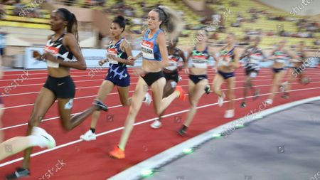 Britain's Eilish McColgan, third right competes in the women's 5000 meters final during the Diamond League athletics meeting at the Louis II stadium in Monaco