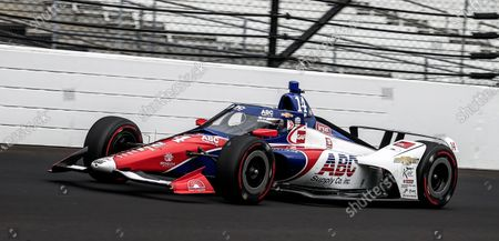 Tony Kanaan of Brazil drives on the track during practice for the Indianapolis 500 automobile race at the Indianapolis Motor Speedway in Indianapolis, Indiana, USA, 14 August 2020. The race was schedule to be run on 24 May 2020 but was delayed because of Covid-19. The race is now to be run on 23 August without fans in attendance.