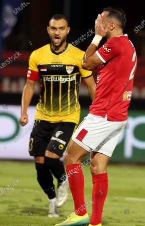 Al-Ahly player Ali Maaloul (R) reacts during the Egyptian Premier League soccer match between Al Entag Al Harby and Al-Ahly, in Cairo, Egypt, 14 August 2020.