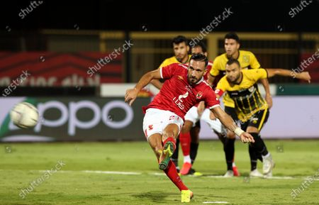 Al-Ahly player Ali Maaloul in action during the Egyptian Premier League soccer match between Al Entag Al Harby and Al-Ahly, in Cairo, Egypt, 14 August 2020.