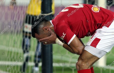 Al-Ahly player Ali Maaloul reacts during the Egyptian Premier League soccer match between Al Entag Al Harby and Al-Ahly, in Cairo, Egypt, 14 August 2020.