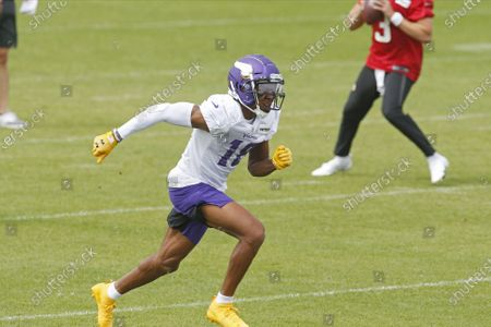 Minnesota Vikings first round draft pick, wide receiver Justin Jefferson (18) runs a pass route during the NFL football team's practice, in Eagan, Minn