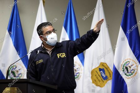 El Salvador's attorney general, Raul Melara, speaks during a press conference in San Salvador, El Salvador, 14 August 2020. Melara confirmed the charges against former El Salvador President Mauricio Funes (2009-2014) and five other people for the alleged embezzlement and laundering of more than 45.2 million dollars from the construction of a dam.