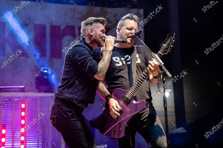 Marshal Dutton, left, and Mark King of Hinder perform at the Iron Horse Saloon during the 80th annual Sturgis Motorcycle Rally, in Sturgis, S.D