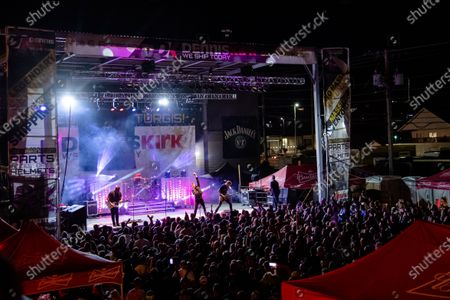 Stock Photo of Joe Garvey, from left, Cody Hanson, Marshal Dutton, Mike Rodden, and Mark King of Hinder perform at the Iron Horse Saloon during the 80th annual Sturgis Motorcycle Rally, in Sturgis, S.D