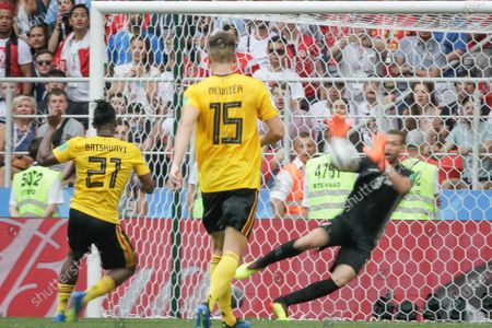 Stock Image of Batshuayi Michy of Belgium, Meunier Thomas of Belgium and Ben Mustapha Farouk of Tunisia during Belgium-Tunisia match valid for the second round of group G of the 2018 World Cup, held at Spartak Stadium. Belgium wins over Tunisia with the score of 5-2.