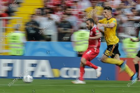 Ben Youssef Syam of Tunisia and Meunier Thomas of Belgium during Belgium-Tunisia match valid for the second round of group G of the 2018 World Cup, held at Spartak Stadium. Belgium wins over Tunisia with the score of 5-2.