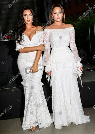 Olivia Pierson and Natalie Halcro wearing dress by Martha Medeiros attend amfAR GenerationCure Solstice 2018 at SECOND