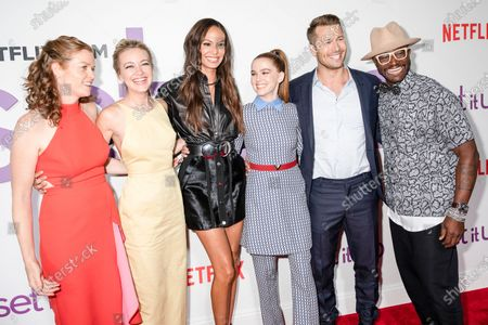 Claire Scanlon, Meredith Hagner, Joan Smalls, Zoey Deutch, Glen Powell, Taye Diggs attend the Set It Up New York Screening at AMC Lincoln Square Theater