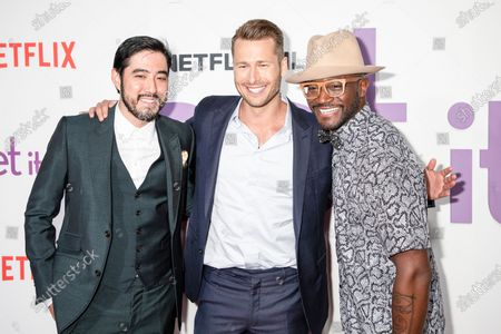 Stock Image of Justin Nappi, Glen Powell, Taye Diggs attend the Set It Up New York Screening at AMC Lincoln Square Theater