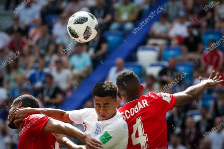 Gabriel Gomez, Jesse Lingard and Fidel Escobar during World Cup 2018 England vs Panama valid for the 2nd round of Group G held at the Níjni Novgorod Stadium, Russia. England wins over Panama 6-1.
