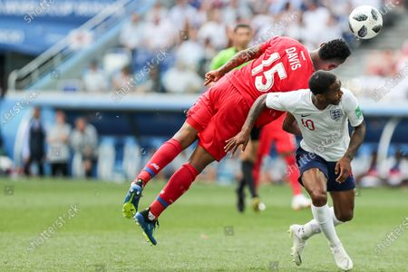 Eric Davis and Raheem Sterling during World Cup 2018 England vs Panama valid for the 2nd round of Group G held at the Níjni Novgorod Stadium, Russia. England wins over Panama 6-1.