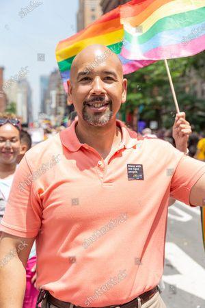 Bronx boroygh president Ruben Diaz Jr attends 49th annual New York pride parade along 7th avenue