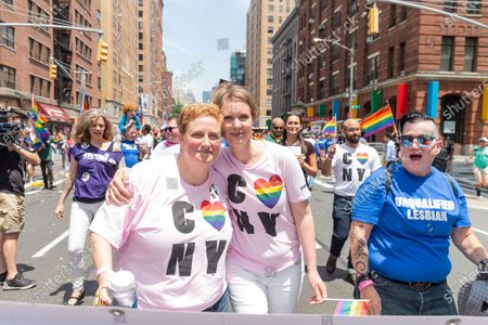Christine Marinoni & Cynthia Nixon attend 49th annual New York pride parade along 7th avenue