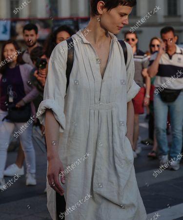 MILAN- 15 June  2018 Model Saskia De Brauw on the street during the Milan Fashion Week