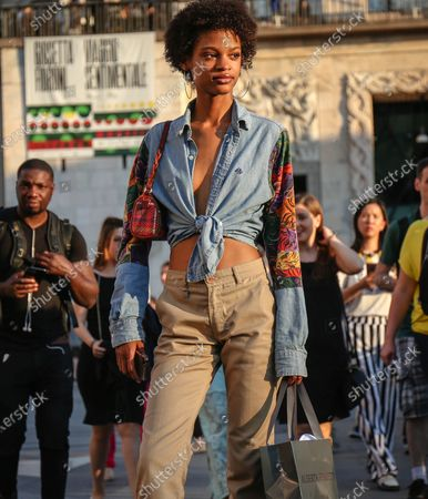 MILAN- 15 June  2018 Model Theresa Hayes on the street during the Milan Fashion Week