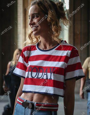 MILAN- 15 June  2018 Micol Sabbadini on the street during the Milan Fashion Week