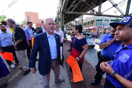 NYC Councilmember for district 26 Jimmy Van Bramer arrives at St Sebastian's. More than three hundred Queens residents, activists, political and community leaders responded to NY City Council Member for Queens Jimmy Van Bramer's call to gather at St. Sebastian's Church in Sunnyside, Queens, to rally and march on behalf of immigrant families who have been torn apart by Washington's policies regarding the treatment of illegal immigrants.