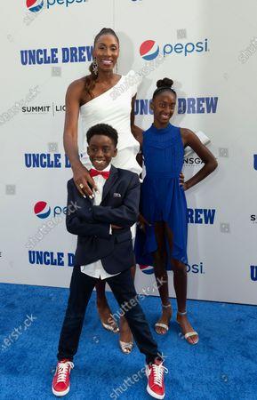 Lisa Leslie & children Michael Joseph Lockwood II, Lauren Jolie Lockwood attend the Uncle Drew New York Premiere at Alice Tully Hall Lincoln Center