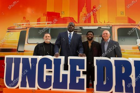 Tim Palen, Shaquille O'Neal, Kyrie Irving (L-R) attend the Uncle Drew New York Premiere at Alice Tully Hall Lincoln Center