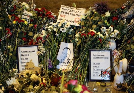 Stock Image of Flowers sit at a symbolic memorial for Aleksandr Vikhor and Aleksandr Traykovsky, who died during a protests after the Belarusian presidential elections, in Minsk, Belarus, 15 August 2020. Long-time President of Belarus Alexander Lukashenko won the elections with 80 percent of the votes, a result questioned and protested by the oppositions.