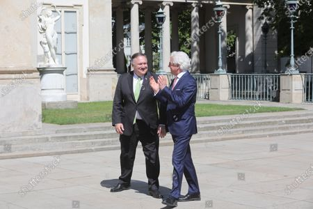 Polish Foreign Minister Jacek Czaputowicz (R) welcomes US Secretary of State Mike Pompeo (L) before their meeting in Warsaw, Poland, 15 August 2020. US Secretary of State Mike Pompeo has come to Warsaw to meet with Poland's top officials, sign a new US-Poland defense deal and attend the commemoration of the centennial of the 1920 Battle of Warsaw, in which Polish forces defeated the Bolsheviks. POLAND OUT
