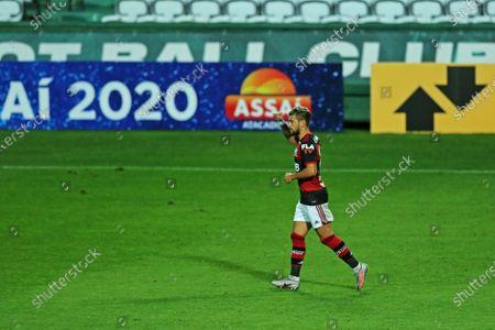Giorgian De Arrascaeta of Flamengo celebrates his goal in the 28th minute for 0-1; Estadio Couto Pereira, Curitiba, Brazil; Brazilian Serie A, Coritiba versus Flamengo.