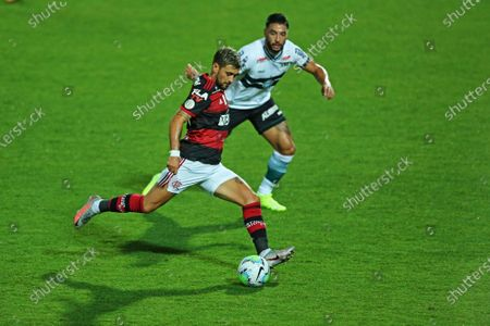 Giorgian De Arrascaeta of Flamengo skips the challenge to cross into the box; Estadio Couto Pereira, Curitiba, Brazil; Brazilian Serie A, Coritiba versus Flamengo.