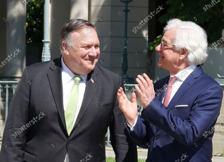 Secretary of State Mike Pompeo, left, meets with Poland's Foreign Minister Jacek Czaputowicz in Lazienki Palace in Warsaw, Poland, . Pompeo is on a five day visit to central Europe