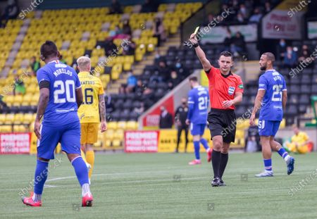 Alfredo Morelos of Rangers shown a yellow card by Referee Nick Walsh during the Scottish Premiership match between Livingston & Rangers at the  Alderston Road at Almondvale Stadium, Livingston on 16th August 2020.