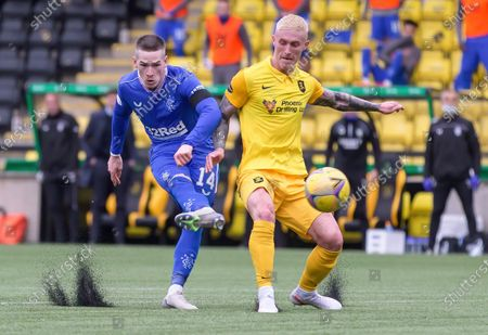 Ryan Kent of Rangers shoots under pressure from Craig Sibbald of Livingston during the Scottish Premiership match between Livingston & Rangers at the  Alderston Road at Almondvale Stadium, Livingston on 16th August 2020.