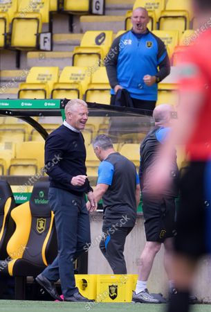Livingston Manager Gary Holt smiles as Referee Nick Walsh blows the final whistle in the Scottish Premiership match between Livingston & Rangers at the  Alderston Road at Almondvale Stadium, Livingston on 16th August 2020.