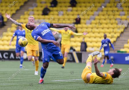 Stock Image of Alfredo Morelos of Rangers fouled by Jack Fitzwater of Livingston and was booked for his reaction by Referee Nick Walsh during the Scottish Premiership match between Livingston & Rangers at the  Alderston Road at Almondvale Stadium, Livingston on 16th August 2020.