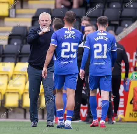 Livingston Manager Gary Holt bumps fists with Borna Barisic & Brandon Barker of Rangers after a 0-0 draw in the Scottish Premiership match between Livingston & Rangers at the  Alderston Road at Almondvale Stadium, Livingston on 16th August 2020.