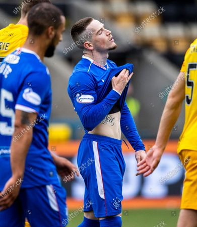 Ryan Kent of Rangers reaction after missing a good scoring chance late on in the Scottish Premiership match between Livingston & Rangers at the  Alderston Road at Almondvale Stadium, Livingston on 16th August 2020.