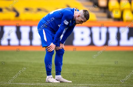 Ryan Kent of Rangers bent over with hands on his knees at full-time in the Scottish Premiership match between Livingston & Rangers at the  Alderston Road at Almondvale Stadium, Livingston on 16th August 2020.