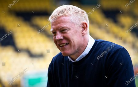 Livingston Manager Gary Holt before kick off in the Scottish Premiership match between Livingston & Rangers at the Tony Macaroni Arena, Livingston on 16th August 2020.