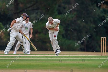 Tom Scriven (Hampshire) drops a catch from Jamie Smith (Surrey) off his own bowling during the Bob Willis Trophy match between Hampshire County Cricket Club and Surrey County Cricket Club at Arundel Castle, Arundel