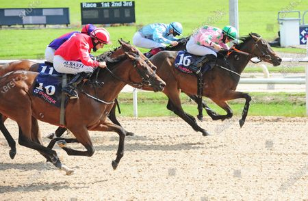 DUNDALK AMAZED BY GRACE and Danny Sheehy (far) beats Zaffy's Pride (near) to win the Foran Equine Irish EBF Auction Fillies Maiden. Healy Racing