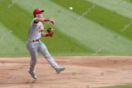 St. Louis Cardinals shortstop Tommy Edman (19) makes a throw to first for the out on Chicago White Sox Yoan Moncada (10) during the first inning in Game 2 of a double-header baseball game, in Chicago