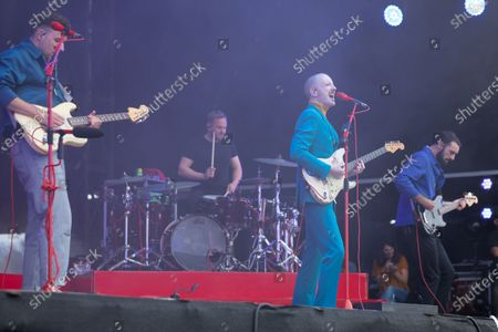 Stock Image of Sam Halliday, Alex Trimble and Kevin Baird- Two Door Cinema Club - performing at a socially distanced show