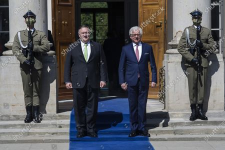 Mike Pompeo and Jacek Czaputowicz stand at the entrance to the palace at the Royal Lazienki Park. U.S. Secretary of State Mike Pompeo visited Warsaw on Saturday to sign an Enhanced Defense Co-operation Agreement (EDCA) with Poland. The visit of the US Secretary of State to Poland ended with a meeting with the Minister of Foreign Affairs, Jacek Czaputowicz in the Royal Lazienki Park.