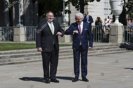 Mike Pompeo and Jacek Czaputowicz greet each other after a press conference at the palace of the Royal Lazienki Park. U.S. Secretary of State Mike Pompeo visited Warsaw on Saturday to sign an Enhanced Defense Co-operation Agreement (EDCA) with Poland. The visit of the US Secretary of State to Poland ended with a meeting with the Minister of Foreign Affairs, Jacek Czaputowicz in the Royal Lazienki Park.