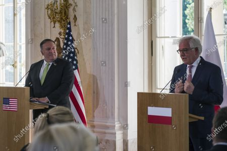 Stock Photo of Mike Pompeo and Jacek Czaputowicz attend a press conference at the palace of the Royal Lazienki Park. U.S. Secretary of State Mike Pompeo visited Warsaw on Saturday to sign an Enhanced Defense Co-operation Agreement (EDCA) with Poland. The visit of the US Secretary of State to Poland ended with a meeting with the Minister of Foreign Affairs, Jacek Czaputowicz in the Royal Lazienki Park.