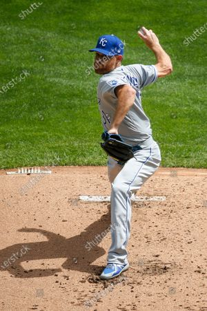 Kansas City Royals starting pitcher Ian Kennedy throws to the Minnesota Twins in the first inning of game one of a baseball double-header, in Minneapolis