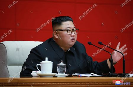 Kim Jong-un, chairman of the Workers' Party of Korea, chairman of the State Affairs Commission of the Democratic People's Republic of Korea and supreme Commander of the armed forces of the DPRK speaks during the 16th meeting of the Political Bureau of the 7th Central Committee of the Workers' Party of Korea (WPK) at the office building of the Central Committee of the WPK in Pyongyang, North Korea, 13 August 2020 (issued 15 August 2020).