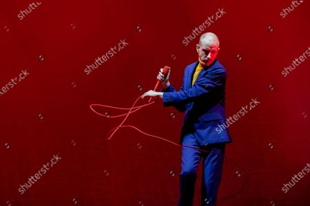 Stock Photo of Alex Trimble - Two Door Cinema Club - performing at a socially distanced show